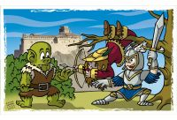 Children knights at the Bardi's Castle. Colour drawing for Gazzetta dei Piccoli (Toddlers' Gazette) column of the Gazzetta di Parma (Gazette of Parma)