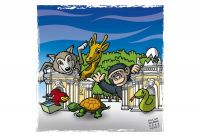 The Biopark of Rome. Colour drawing for Gazzetta dei Piccoli (Toddlers' Gazette) column of the Gazzetta di Parma (Gazette of Parma)