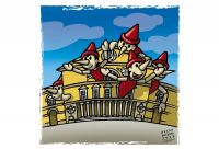 Pinocchio at the Regio's Theater. The inspiring muse. Colour drawing for Gazzetta dei Piccoli (Toddlers' Gazette) column of the Gazzetta di Parma (Gazette of Parma)