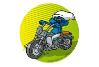 Easy rider Smurf. Colour drawing for Gazzetta dei Piccoli (Toddlers' Gazette) column of the Gazzetta di Parma (Gazette of Parma)