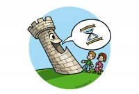 The tower tells stories. Colour drawing for Gazzetta dei Piccoli (Toddlers' Gazette) column of the Gazzetta di Parma (Gazette of Parma)